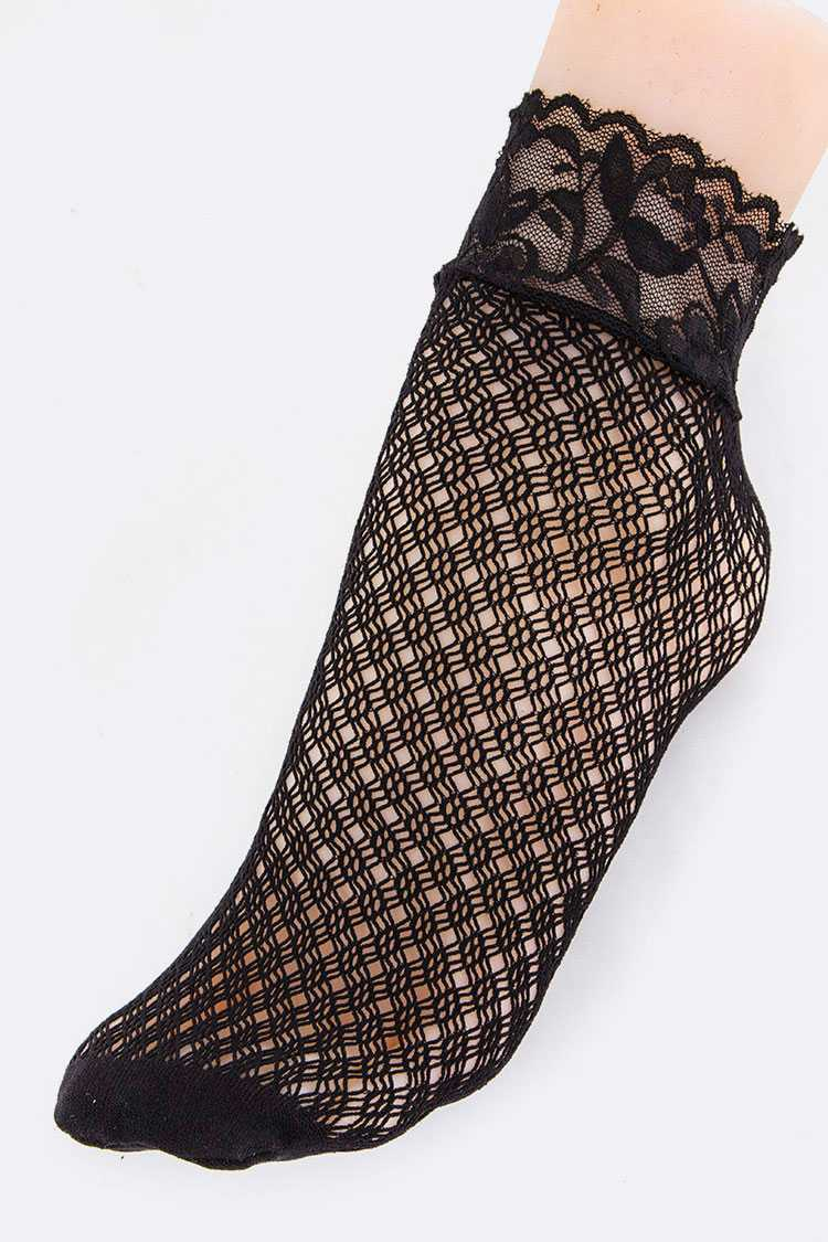 Lace Top Fishnet Socks