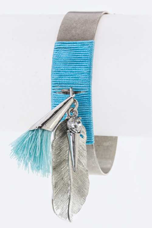 Tassel & Metal Feather Charms Metal Cuff