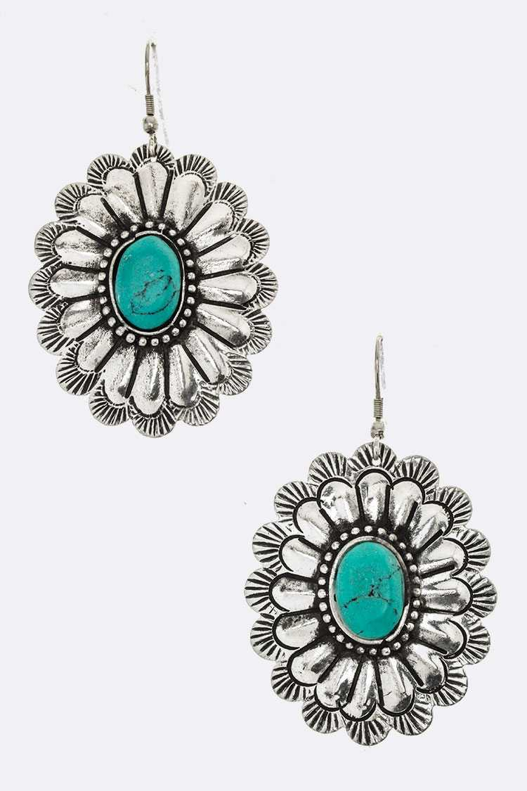 Turquoise Concho Earrings