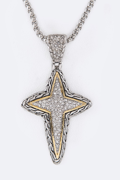 CZ Cross Pendant Necklace