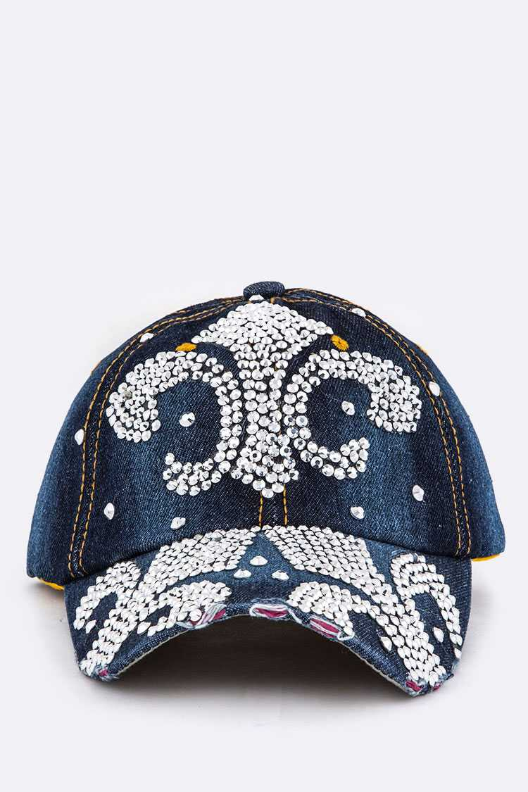 Crystal Fleur De Lis Embelished Denim Cap