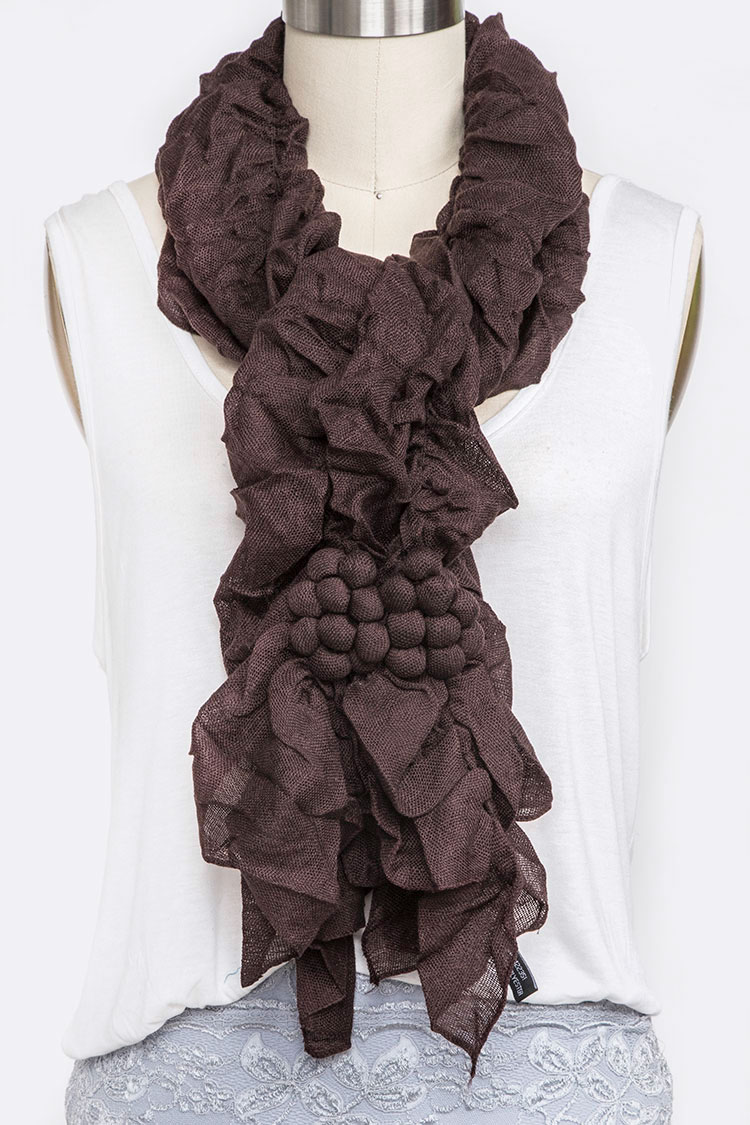 Ruffle Light Raised Pattern Crinkle Scarf