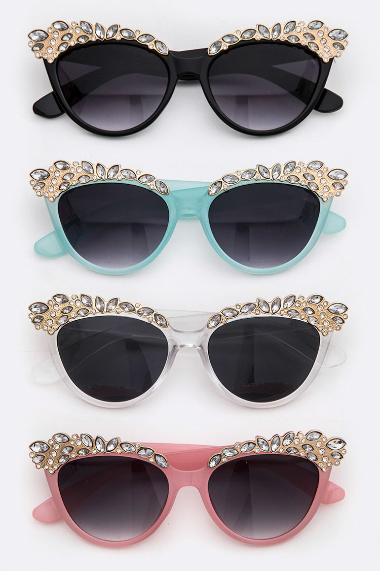 Crystal Accent Fashion Sunglasses