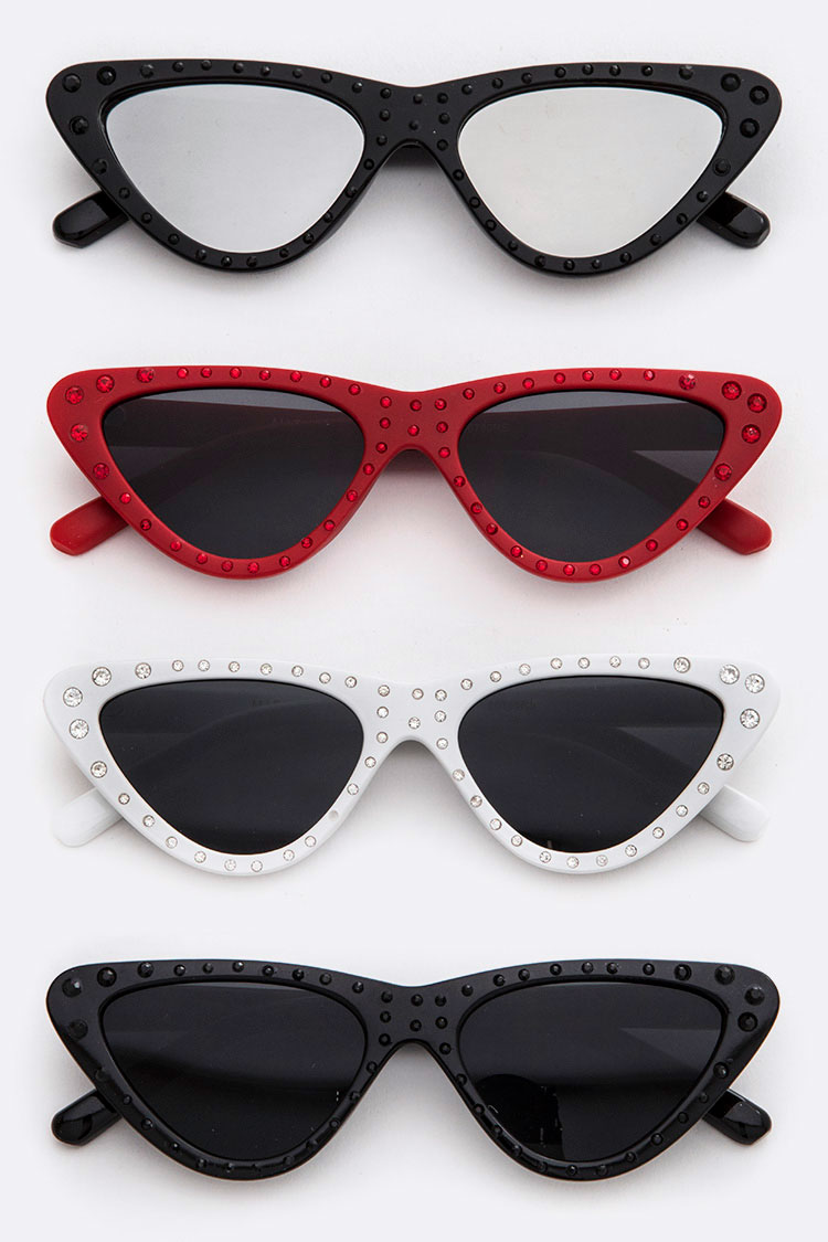 Pave Crystal Iconic Triangle Sunglasses