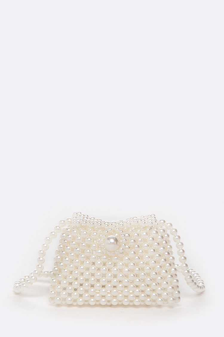 Pearl Beaded Statement Mini Swing Bag