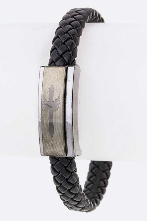 Cross Stainless Steel Charm Braided Leather Bracelet