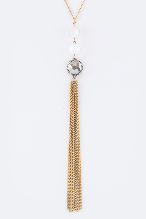 Crystal & Long Tassel Necklace
