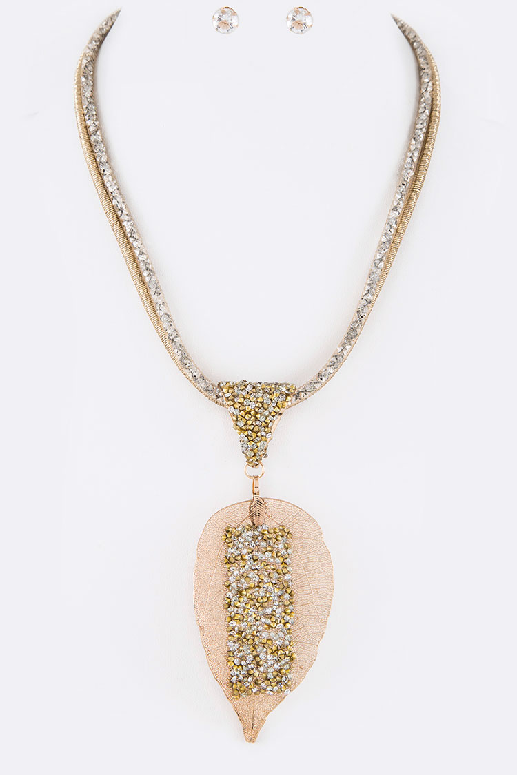 Crystal Druzy Gold Dip Leaf Pendant Necklace Set