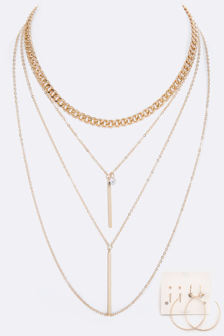 CZ & Metal Bar Charms Layer Necklace Set