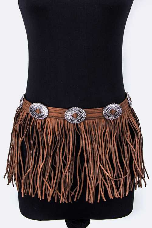 Concho Sueded Fringe Belt