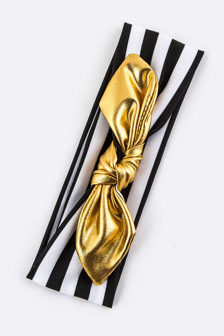 Kids Size Gold Bow Stretch Headband