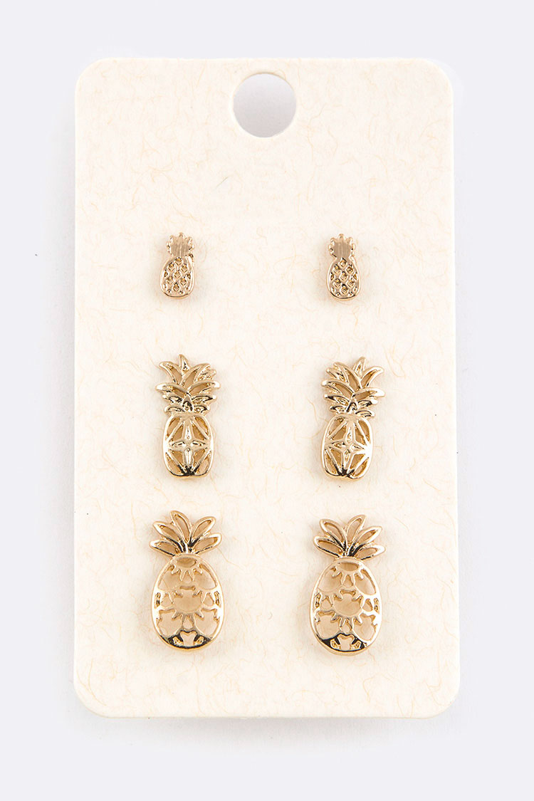 Pineapple Cutout Mix Stud Earrings Set
