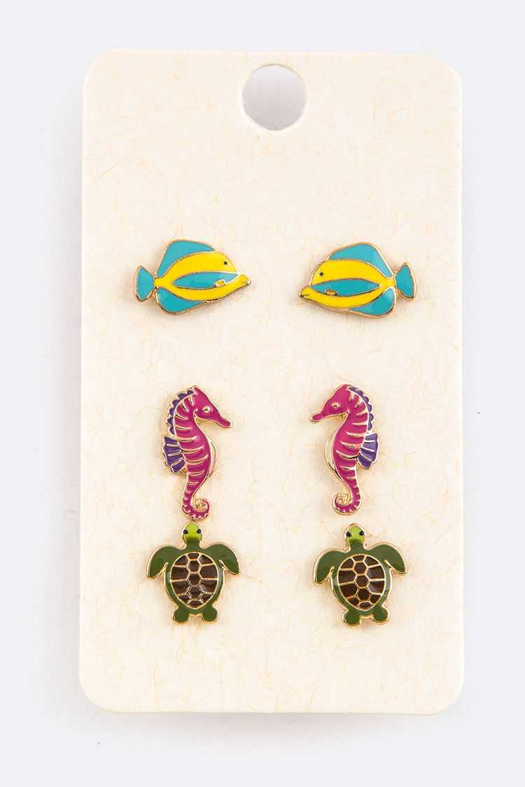 Sea Life Enamel Mix Studs Set