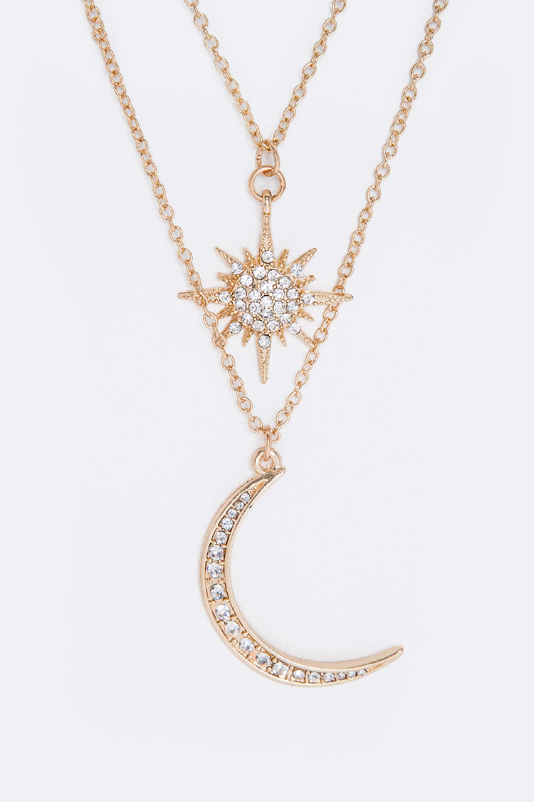 Crystal Moon & Star Charms Layer Necklace