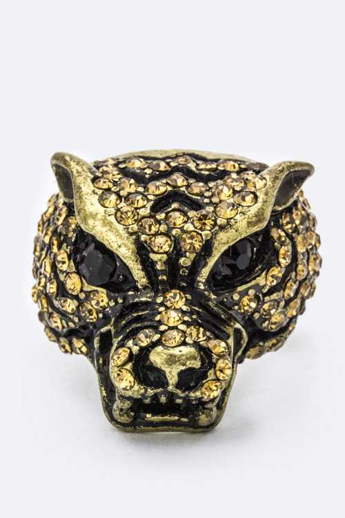 Crystal Tiger Head Ring