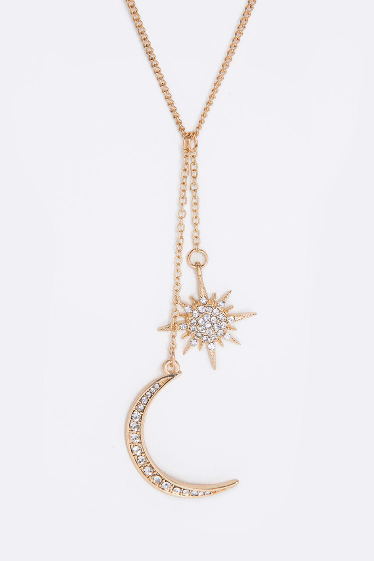 Crystal Moon & Star Charm Drops Necklace