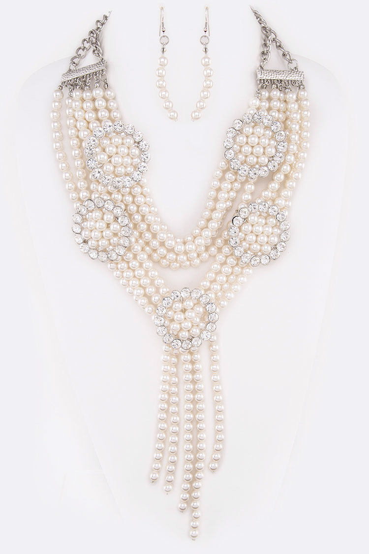 Crystal Ring Mix Pearls Statement Necklace Set