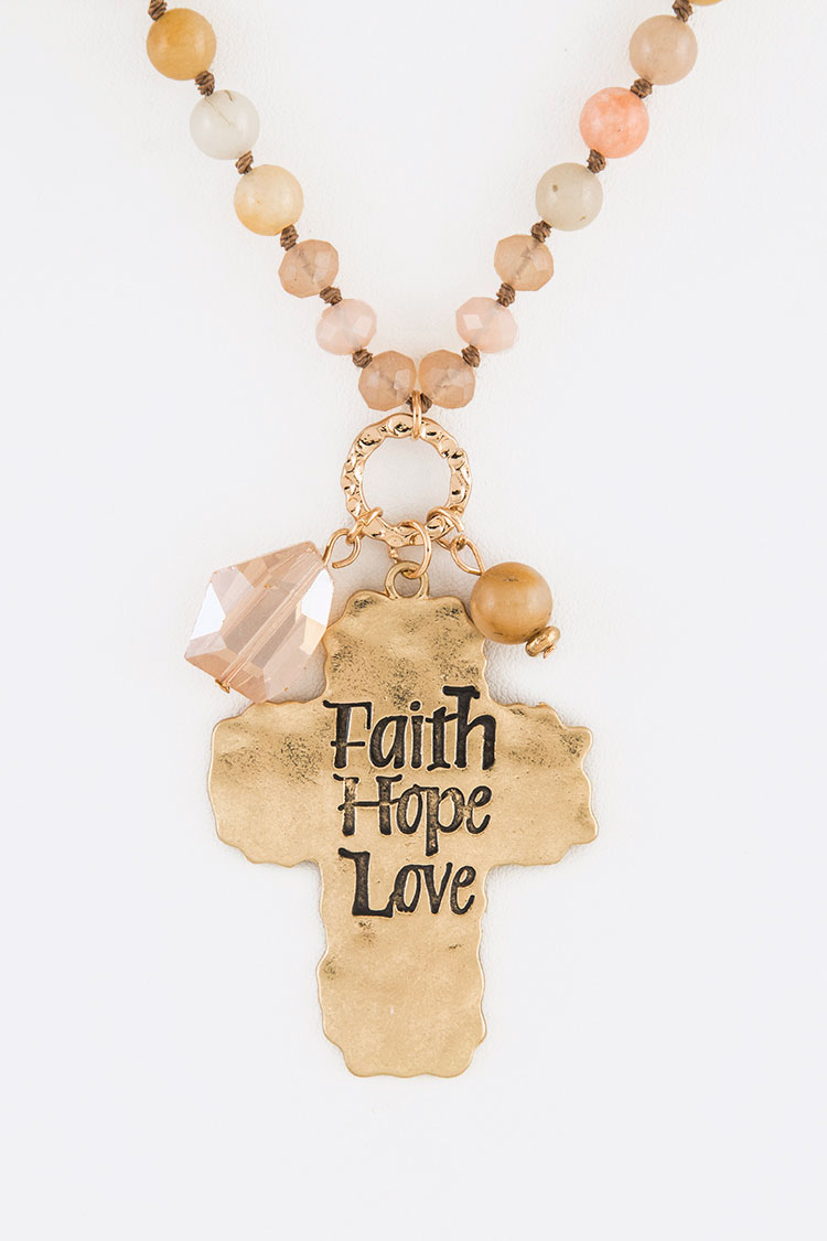 Faith Hope Love Cross Pendant Stone Necklace Set