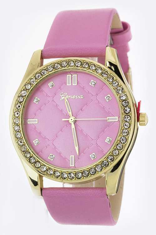 Quilted Pattern Crystal Fashion Watch