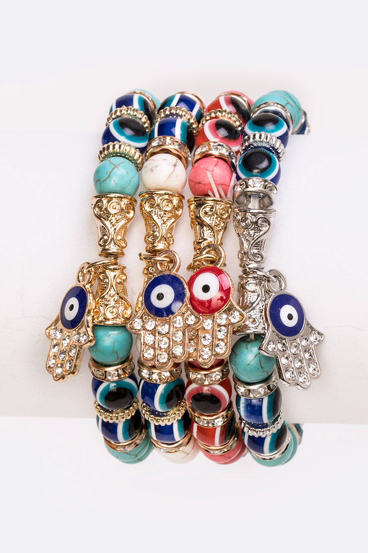 Evil Eye Mix Beads Stretch Bracelet Set