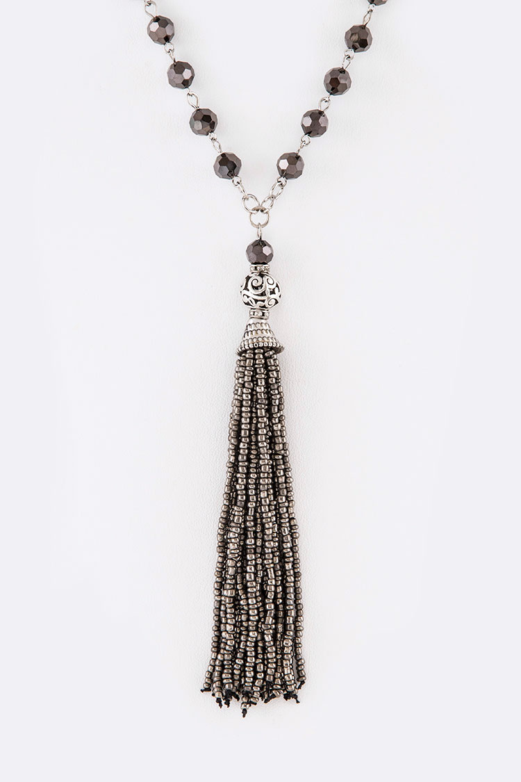 Seed Beads Crystal Station Long Necklace Set