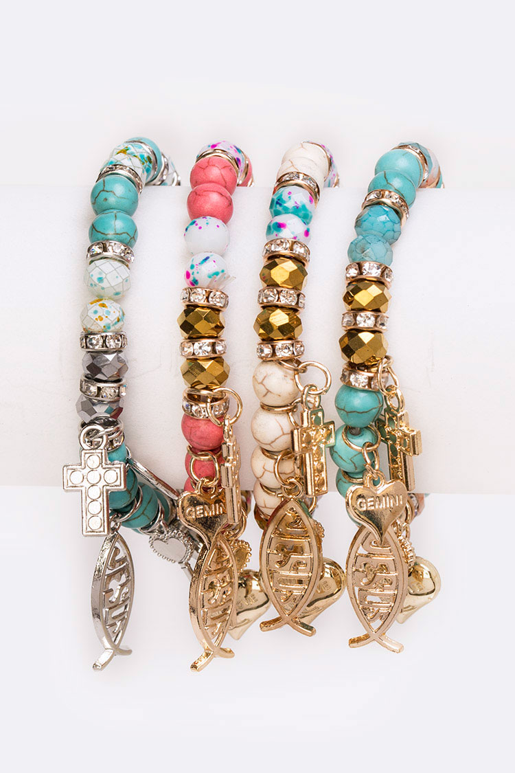 Fish Religious Mix Charm Bracelet Set