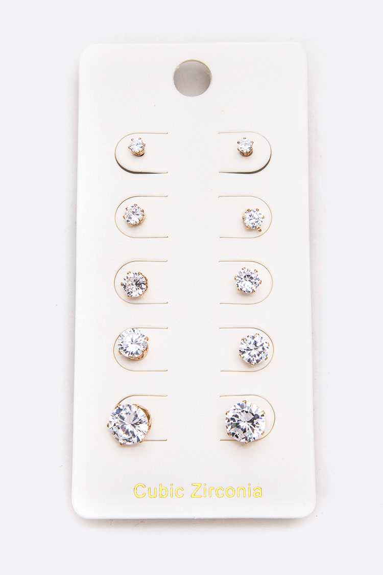 5 Pairs Mix CZ Studs Set