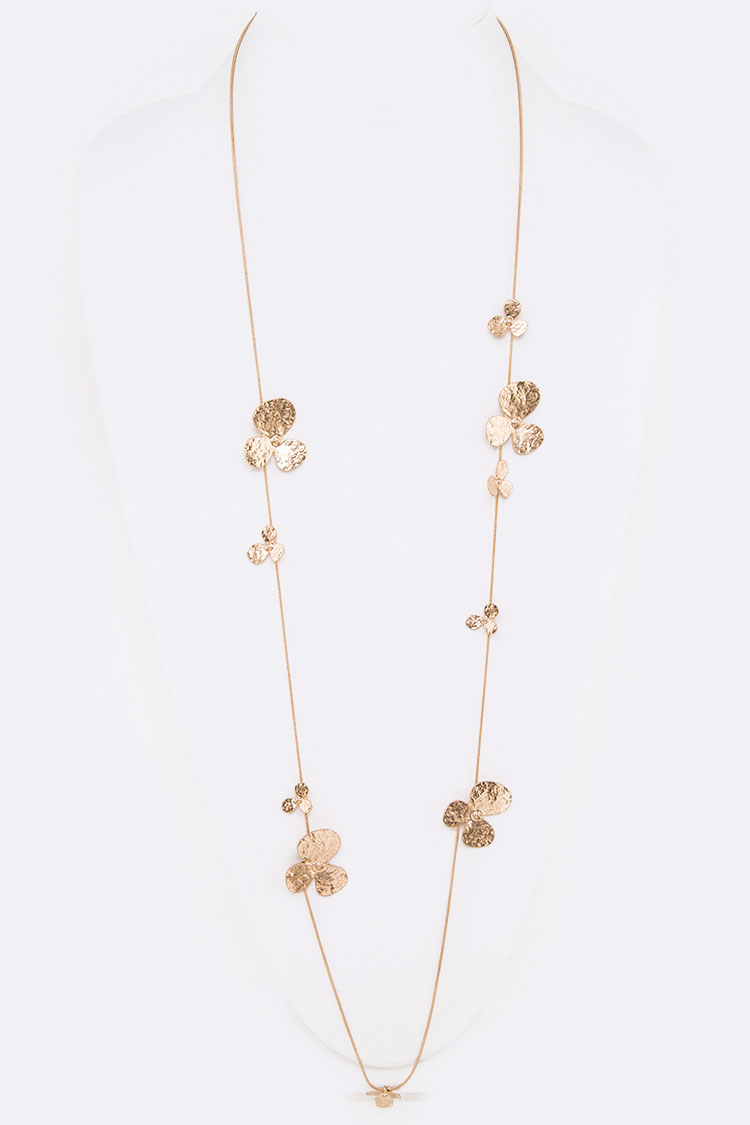 Textured Flower Station Long Necklace