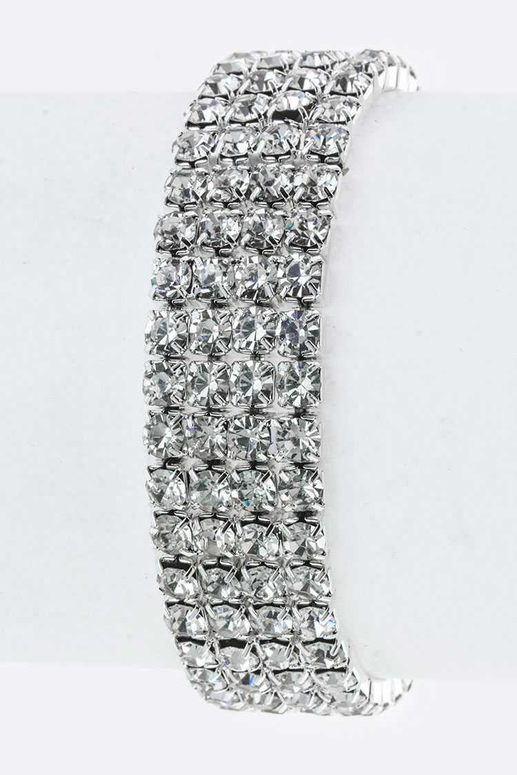 4 Lines Crystal Stretch Bracelet