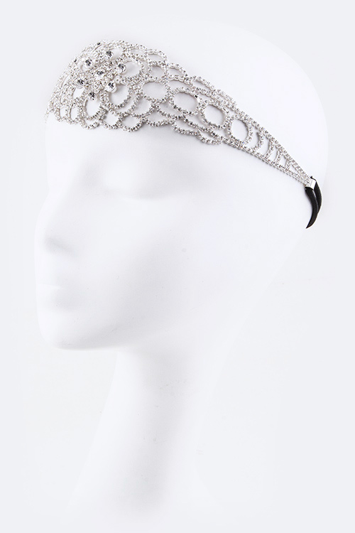 Floral Rhinestone Fashion Stretch Headband