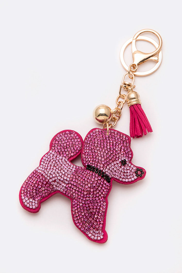 Crystal Pink Poodle Key Chain