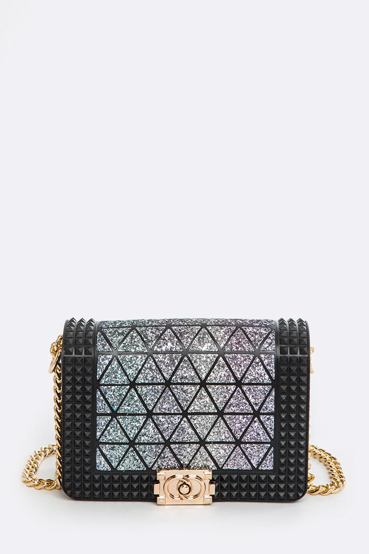 Geometric Structure Jelly Studs Crossbody Bag