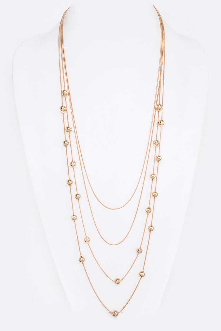 Metal Beads Station Long Layered Necklace