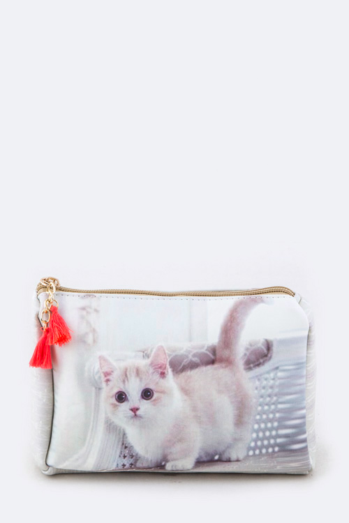 Kitty Print Pouch