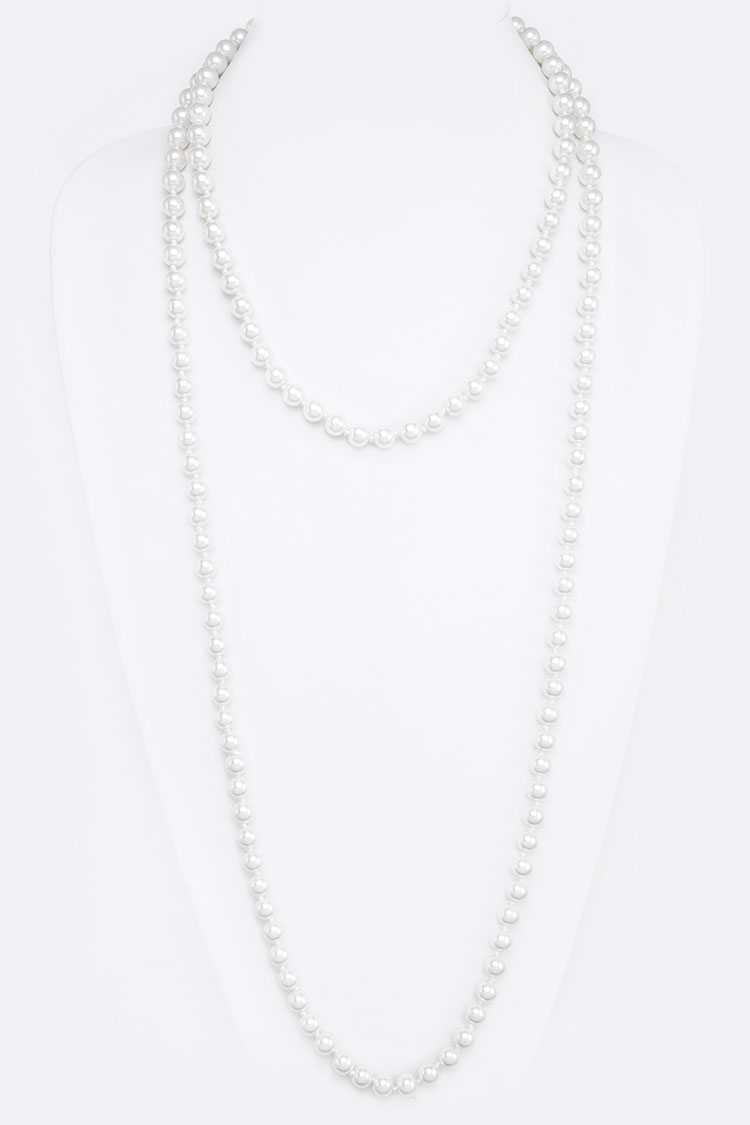 "8MM Hand Knotted 60"" Pearl Necklace"