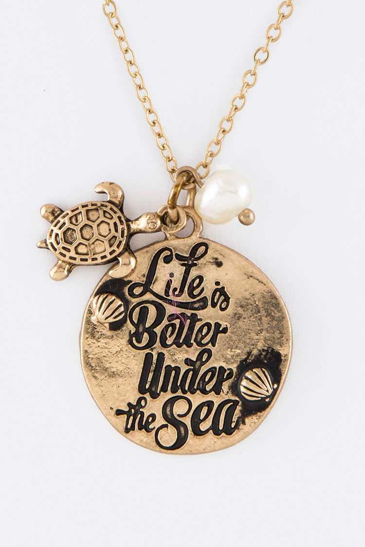 Life Is Better Under The Sea Pendant Necklace Set