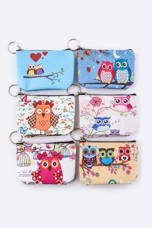 Assorted Owl Print Coin Purses