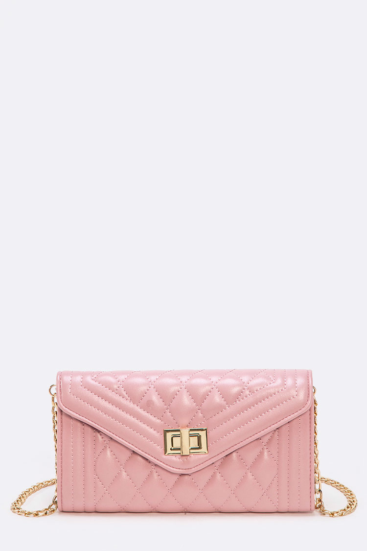Quilted Twist Lock Crossbody Swing Bag