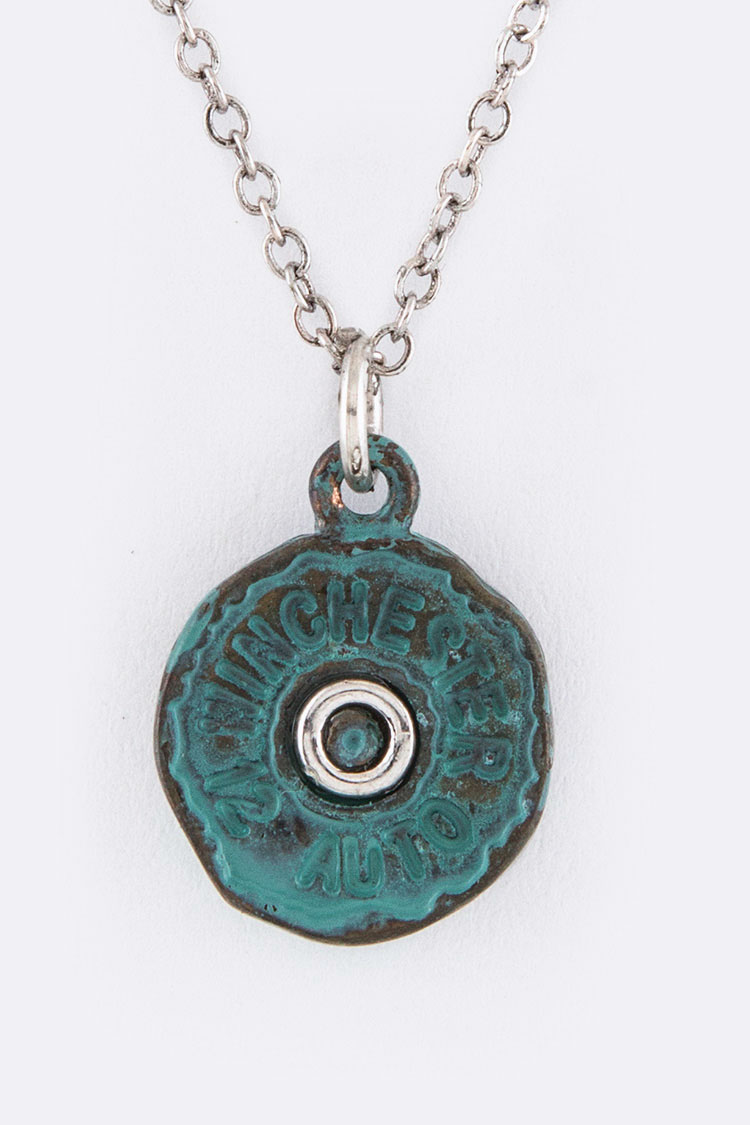 Gun Shell Pendant Necklace Set
