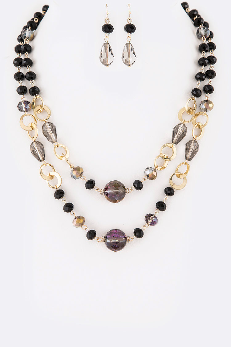 Crystal Layered Classy Necklace Set