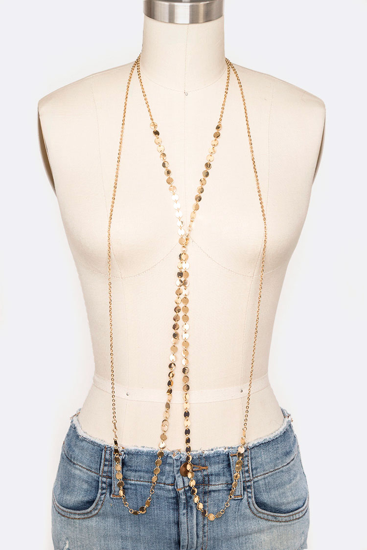 Metal Disk Cross Body Chain