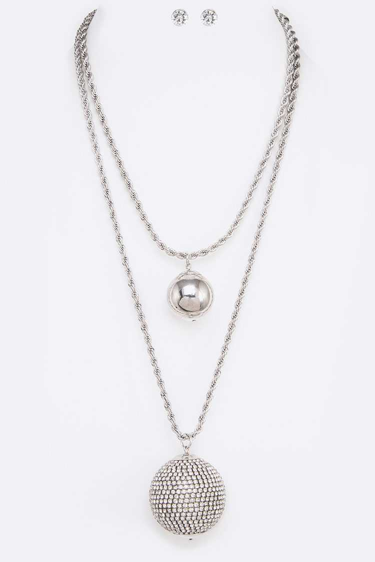 Crystal Ball Pendant Layer Necklace Set