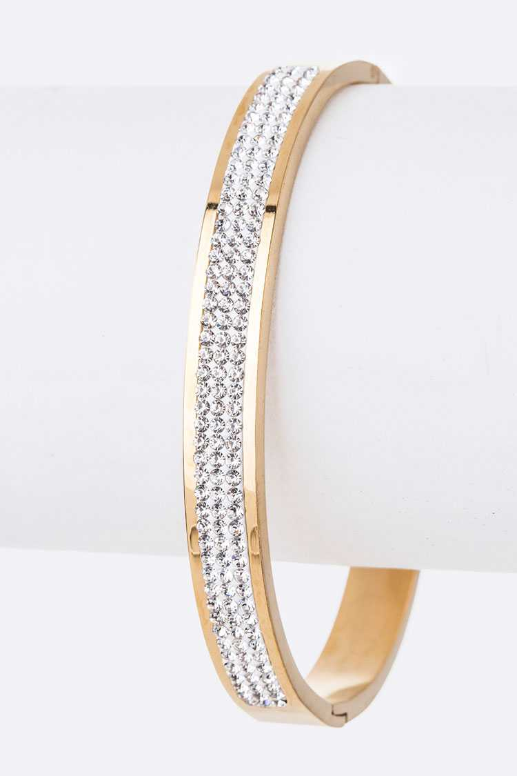 Crystal Pave Stainless Steel Bangle