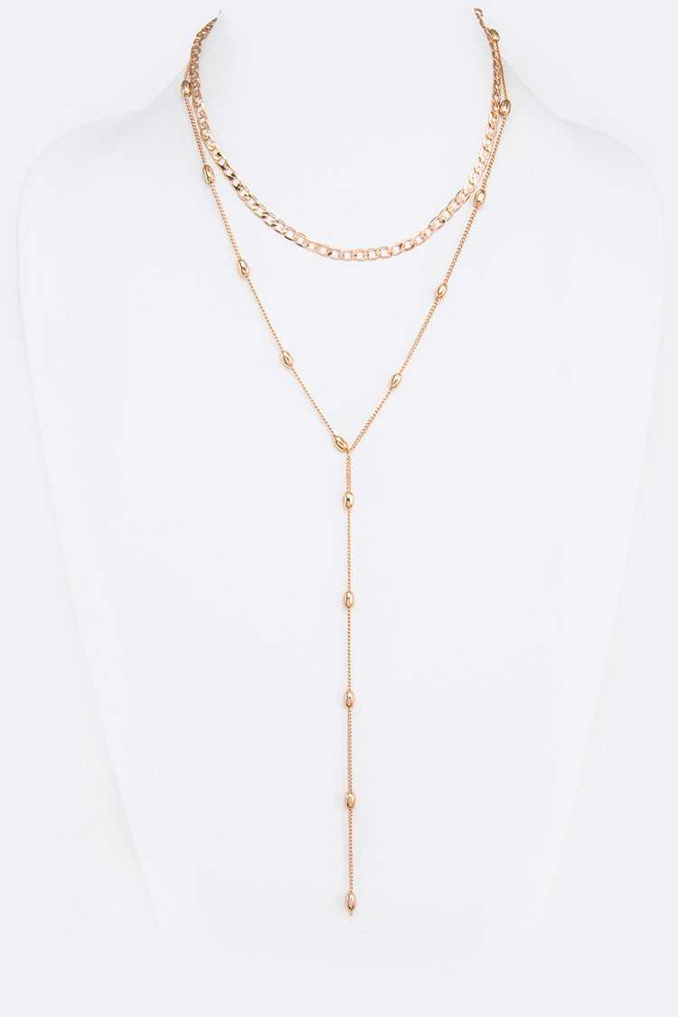 Mix Chain Layered Long Necklace