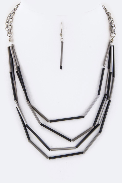 2 Tone Square Tubes Layer Necklace Set
