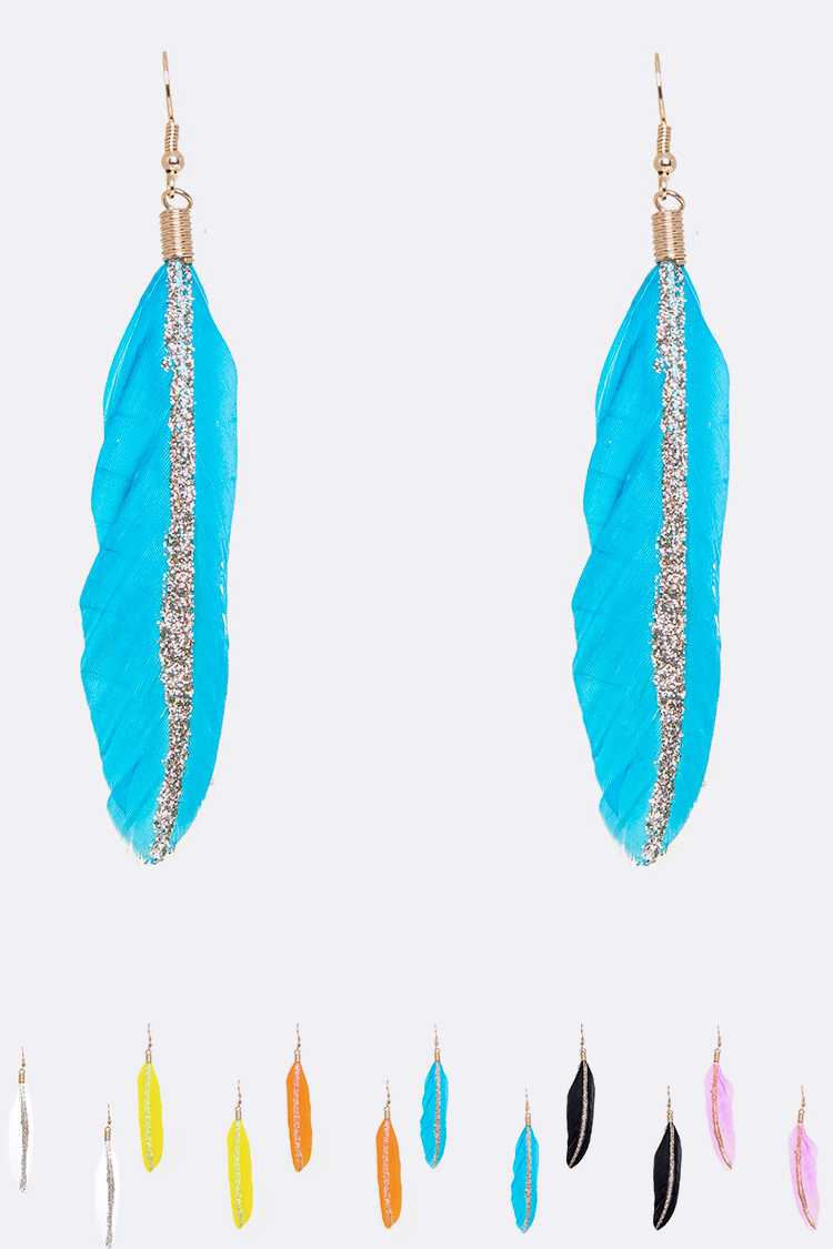 Iconic Glitter Mix Color Feather Earrings Set