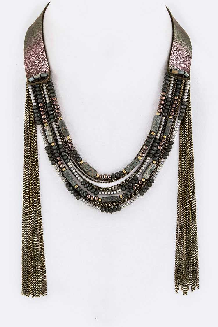 Mix Beads Layer & Fringe Chains Necklace