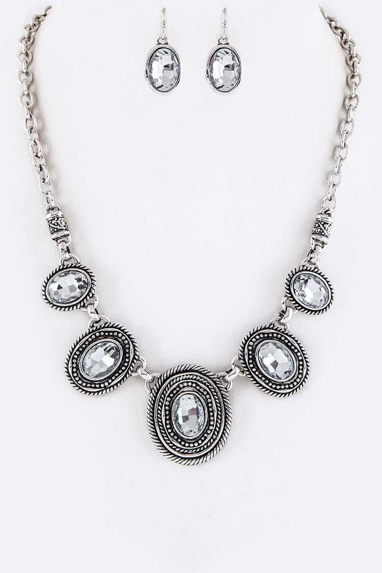 Oval Crystals Statement Necklace Set