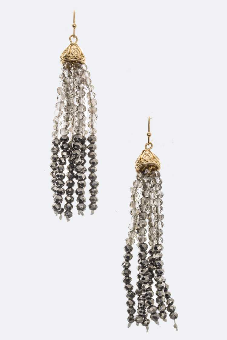 2 Tone Bead Tassel Earrings