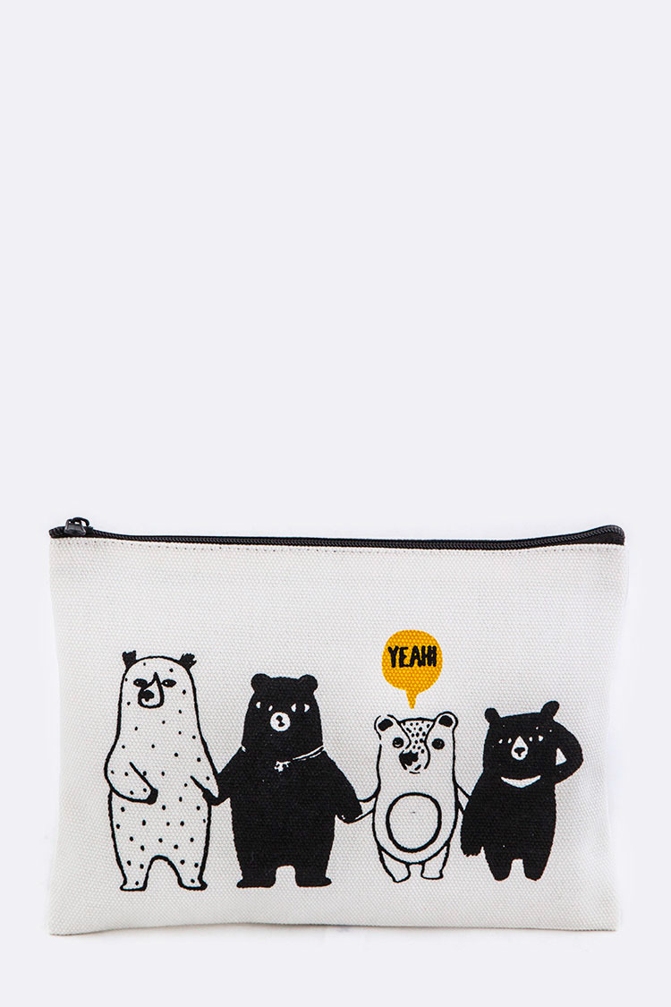 Comic Bears Canvas Pouch